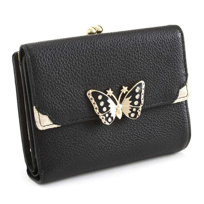 <クーポン配布中>アナスイ 財布 二つ折り財布 がま口財布 黒(ブラック) ANNA SUI 312572-10 レディース 婦人