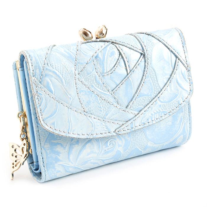 <クーポン配布中>展示品箱なし アナスイ 財布 二つ折り財布 がま口財布 ライトブルー ANNA SUI 312612-82 レディース 婦人