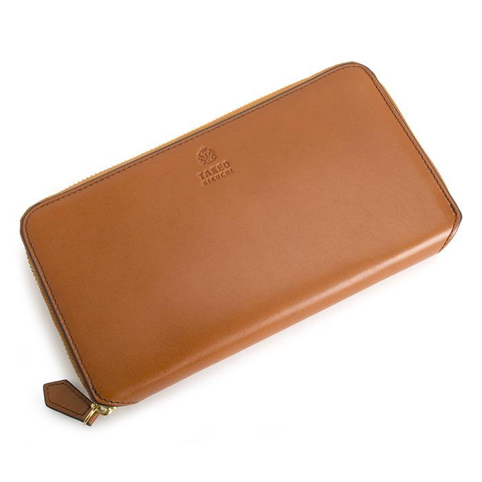 <クーポン配布中>タケオキクチ 財布 長財布 パスケース付 コインケース付 小銭入れ付 ラウンドファスナ- キャメル TAKEOKIKUCHI 730603 b メンズ 紳士