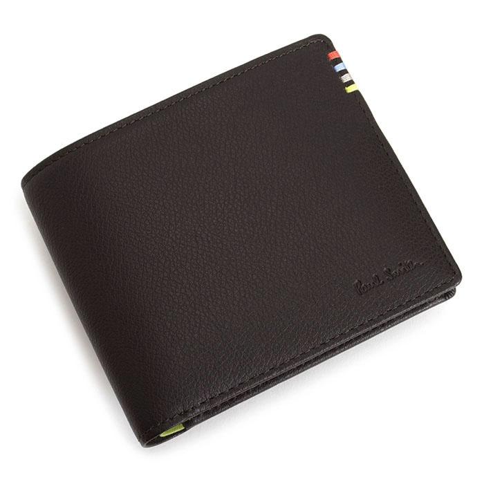 <クーポン配布中>ポールスミス 財布 二つ折り財布 茶(ブラウン)/内側:黄緑 Paul Smith psy005-71 メンズ 紳士