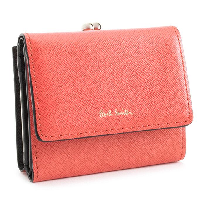 <クーポン配布中>ポールスミス 財布 三つ折り財布 がま口財布 コーラル Paul Smith pwd392-20 レディース 婦人