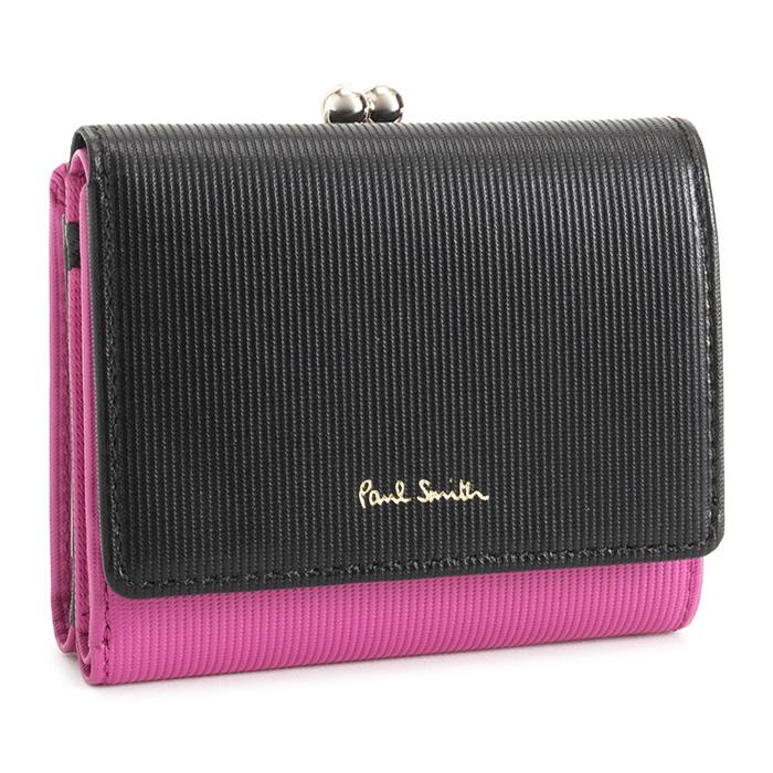 展示品箱なし ポールスミス 財布 三つ折り財布 がま口財布 ローズ Paul Smith pwd116-23 レディース 婦人