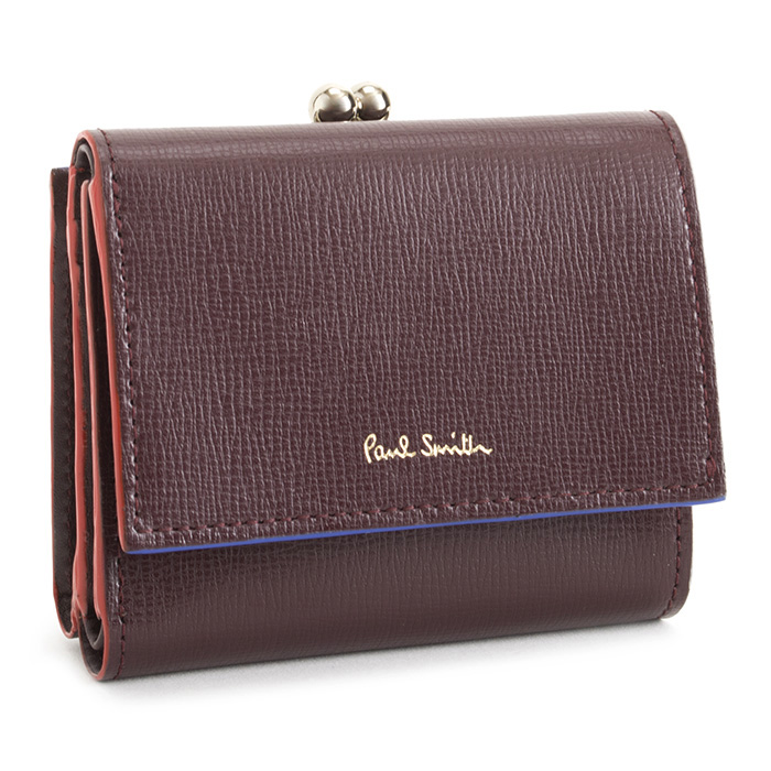 ポールスミス 財布 三つ折り財布 がま口財布 ワイン Paul Smith pwd274-80 レディース 婦人