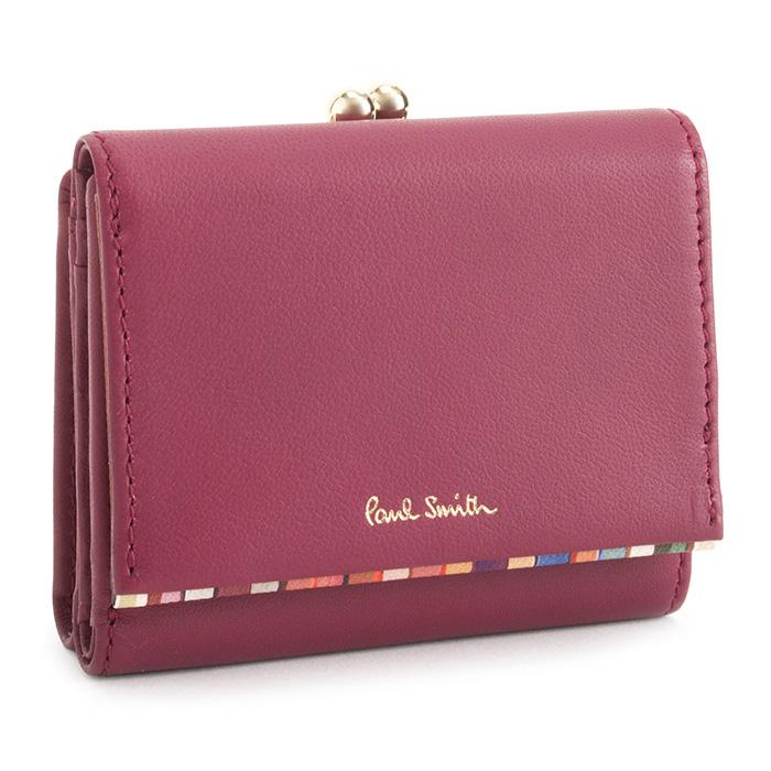 ポールスミス 財布 三つ折り財布 がま口財布 ローズ Paul Smith pwd544-23 レディース 婦人