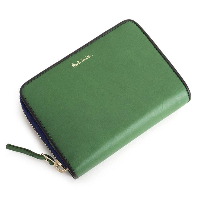 展示品箱なし ポールスミス 財布 二つ折り財布 ラウンドファスナー 緑(グリーン) Paul Smith psc324-50 メンズ 紳士