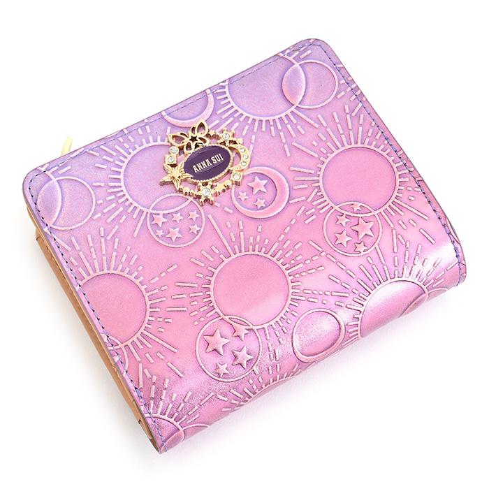 展示品箱なし アナスイ 財布 二つ折り財布 L字ファスナー 紫(パープル) ANNA SUI 313582-92 レディース 婦人