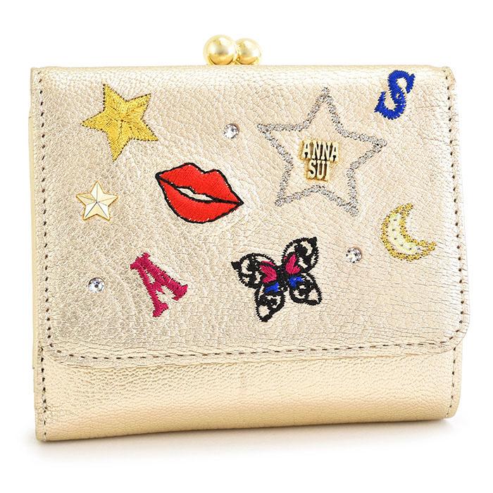 アナスイ 財布 二つ折り財布 がま口財布 ゴールド ANNA SUI 313622-69 レディース 婦人