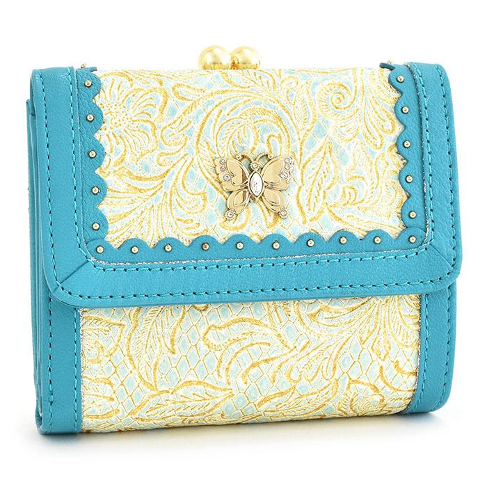 アナスイ 財布 二つ折り財布 がま口財布 ライトブルー ANNA SUI 314292-82 レディース 婦人