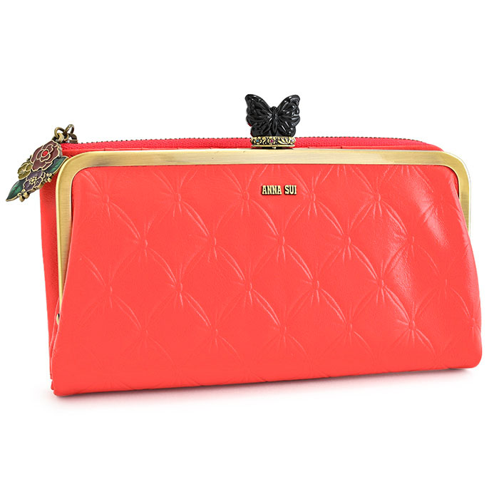 <クーポン配布中>アナスイ 財布 長財布 がま口財布 オレンジチューリップ(ピンクがかったオレンジのようなお色です。) ANNA SUI 314010-33 レディース 婦人