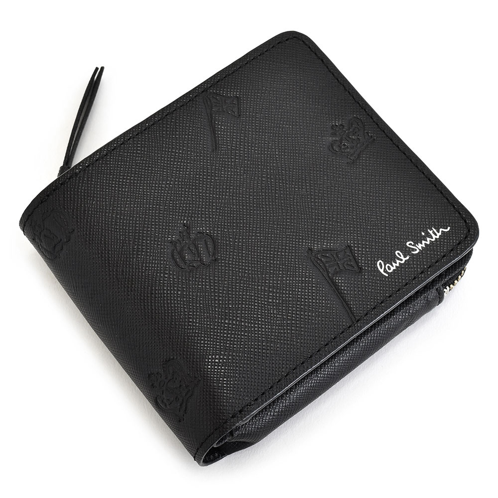 ポールスミス 財布 二つ折り財布 L字ファスナー 黒(ブラック) Paul Smith psc005-10 メンズ 紳士