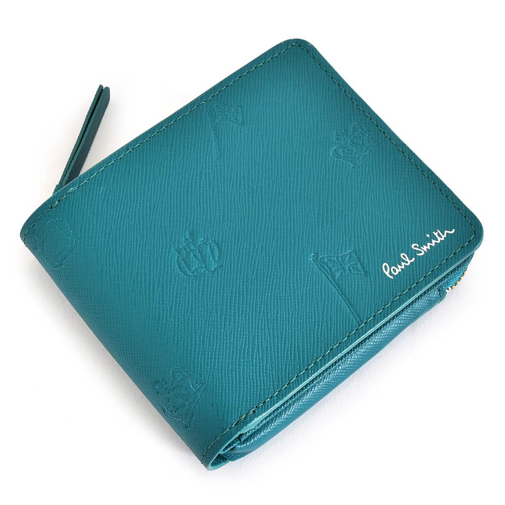 ポールスミス 財布 二つ折り財布 L字ファスナー ターコイズ Paul Smith psc005-35 メンズ 紳士