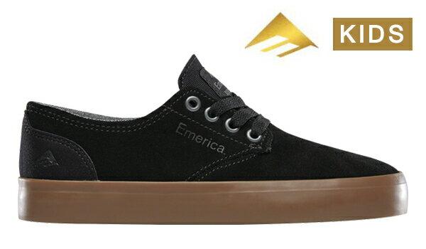 【Emerica】ROMERO LACED YOUTH Leo Romero Signature Model カラー:black/gum エメリカ ロメロ レイスド スケートボード スケボー SKATEBOARD シューズ 靴 スニーカー 子供 キッズ