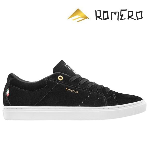 【Emerica】ROMERO AMERICANA カラー:black/white/gold エメリカ ロメロ アメリカーナ スケートボード スケボー SKATEBOARD シューズ 靴 スニーカー