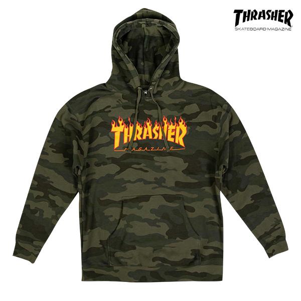 【THRASHER】FLAME LOGO HOODIET カラー:forest camo スラッシャー パーカー プルオーバー フード スケートボード スケボー SKATEBOARD