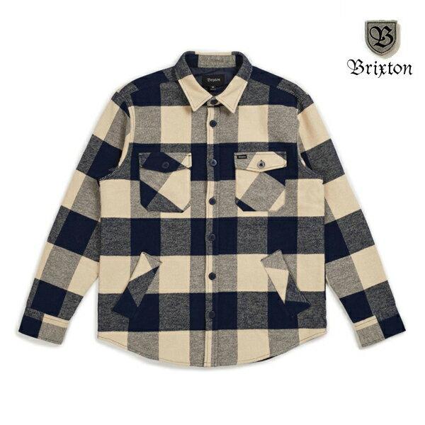 【BRIXTON】DURHAM L/S flannel カラー:navy/cream 【ブリクストン】【スケートボード】【ネルシャツ】