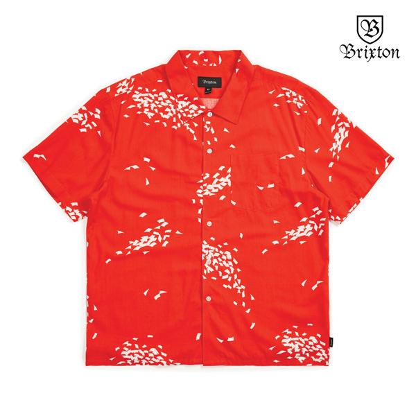 【BRIXTON】LOVITZ S/S WOVEN カラー:red white ブリクストン シャツ 半袖 スケートボード スケボー SKATEBOARD