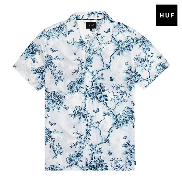【HUF】HIGHLINE S/S WOVEN SHIRT カラー:white ハフ シャツ 半袖 ボタンアップ スケートボード スケボー SKATEBOARD