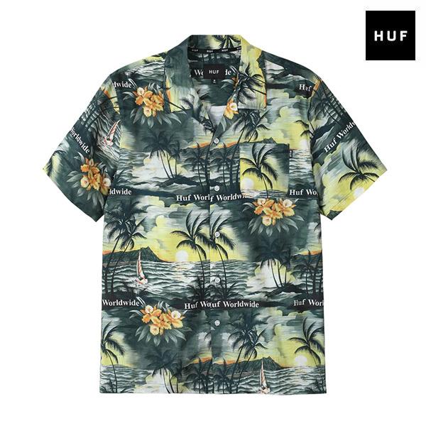 【HUF】VENICE SS WOVEN SHIRT カラー:black ハフ シャツ 半袖 ウーブン スケートボード スケボー SKATEBOARD