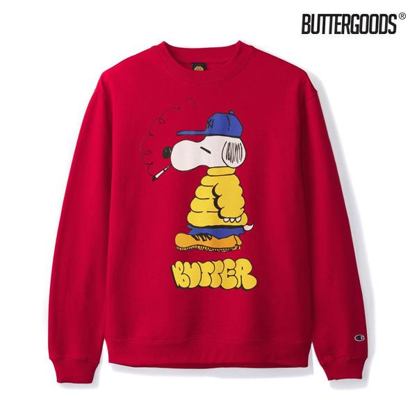 【BUTTER GOODS】LO GOOSE CHAMPION CREWNECK カラー:red バターグッズ スケートボード スケボースウェット クルーネック