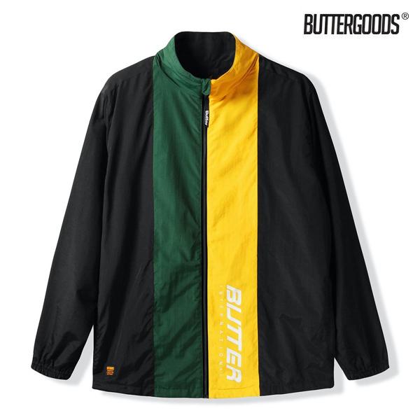【BUTTER GOODS】RUNNER TRACKSUIT JACKETカラー:black/forest バターグッズ スケートボード スケボージャケット トラックスーツ