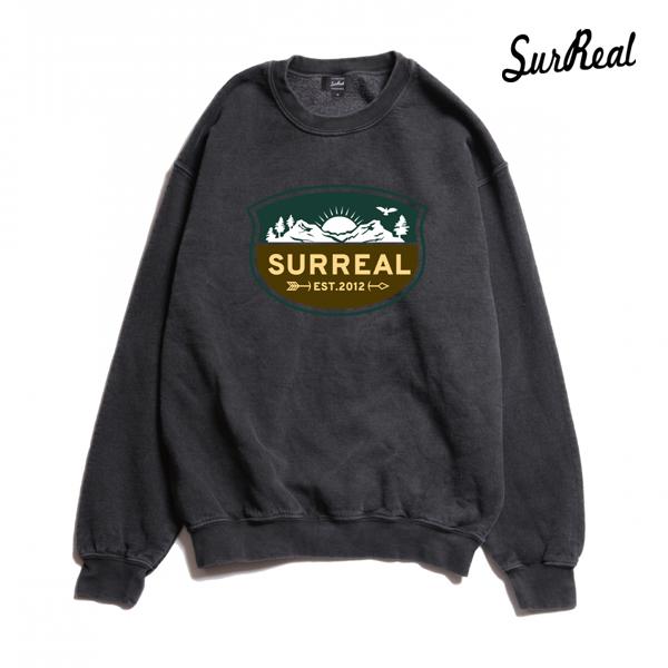 【SURREAL】BRUNO -Pigment Dye Sweat- カラー:blk 【シュルリアル】【スケートボード】【スウェット/クルーネック】
