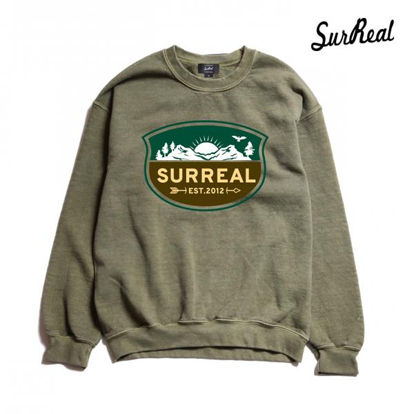 【SURREAL】BRUNO -Pigment Dye Sweat- カラー:kha 【シュルリアル】【スケートボード】【スウェット/クルーネック】