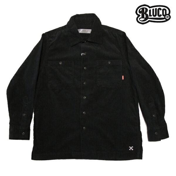 【BLUCO】CORDUROY WORK SHIRTS L/S カラー:black OL-109c-017 【ブルコ】【スケートボード】【シャツ/長袖】