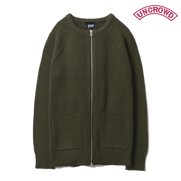 【UNCROWD】COMMANDO CARDIGANUC-502-018 カラー:olive 【アンクラウド/ブルコ】【スケートボード】【ニット/カーディガン】