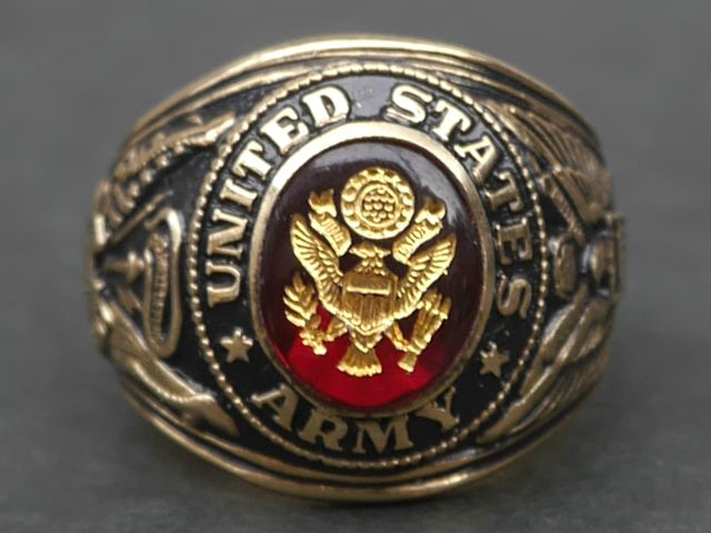UNITED STATES ARMY(アメリカ陸軍) 1990年代 ミリタリーリング(カレッジリング) MADE IN USA(アメリカ製) デッドストック【中古】