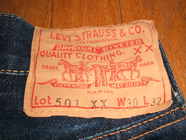 没有保证 (李维斯) LEVIS 501 XX 纸修补世纪 pesle 20 世纪 50 年代真正老式 W30 × L32