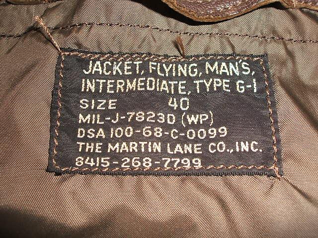 THE MARTIN LANE CO.,INC.(zamachinren公司制造)G-1[MIL-J-7823D(WP)DSA-100-68C-0099]US NAVY(美国海军)飞行员茄克1968年制造实物复古