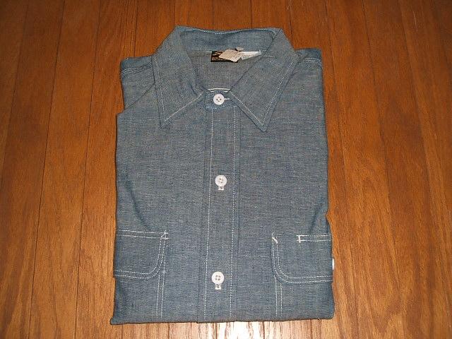 Prentiss(プレンティス) 1980年代 実物ビンテージ 長袖シャンブレーシャツ MADE IN USA(アメリカ製) 実物デッドストック