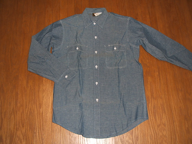 Prentiss( Prentiss) 1980s real thing vintage long sleeves chambray shirt MADE IN USA (product made in U.S.A.) real thing dead stock