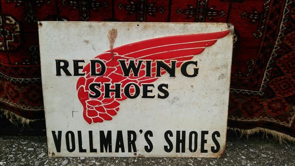 RED WING(レッドウィング) 1960年代製 実物ビンテージ 金属製 サインプレート看板 【中古】