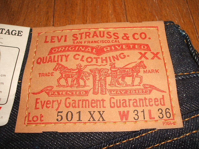 (Levis) LEVIS 501 XX 1955 model top button back 555 Valencia factory-made facsimile edition MADE IN the USA (made in USA) W31×L36 dead stock