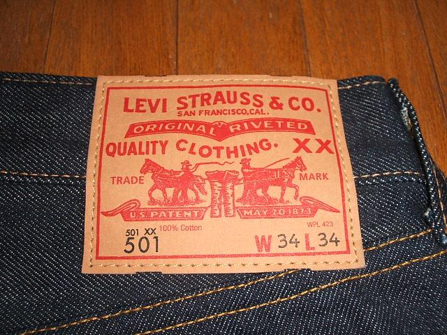 1947 (李维斯) LEVIS 501 XX 模型重印版最上端的按钮回到 4420 制造在美国 (美国制造) W34 × L36 死了股票。