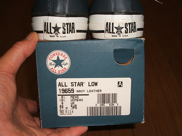 CONVERSE コンバースALL STAR オールスターLow ローNavy Leather ネイビー レザーMADE IN USA アメリカ製1990年代 実物デッドストックTl1JFKc3