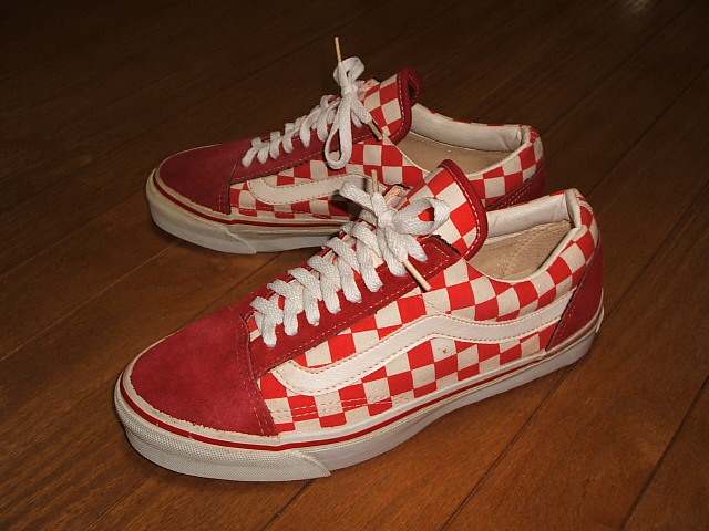 red checkerboard old skool vans