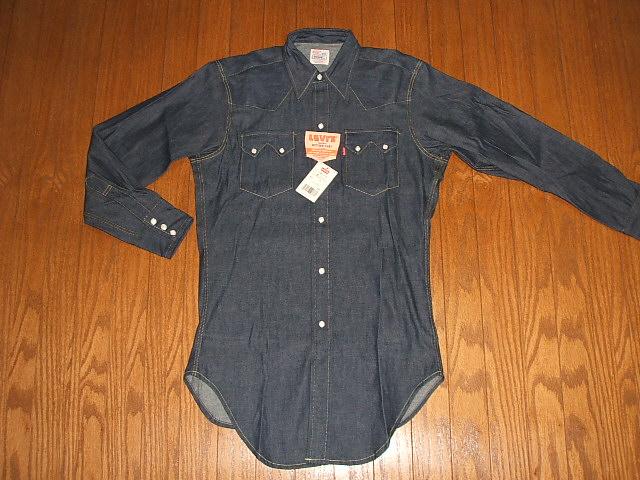 LEVIS(李维斯)短喇叭按钮西部粗斜纹布衬衫1950年代复刻版MADE IN USA巴伦西亚工厂制造滞销商品