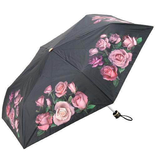 晴雨兼用 折りたたみ 傘 レディース 雨傘 日傘 折傘 おしゃれ 55cm 雨 レイン 雨晴兼用 かわいい 大注目 4989075001111 ブラック UV 品質検査済 紫外線カット 556-025 転写薔薇柄 ギフト 折りたたみ傘