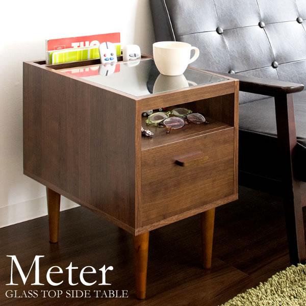 ソファサイド ベッドサイド TABLE 北欧風 コーヒーテーブル ST-300 『ガラストップソファサイドテーブル【Meter】』【送料無料】※代引き手配できません【北海道1500円・沖縄・離島は別途運賃かかります】