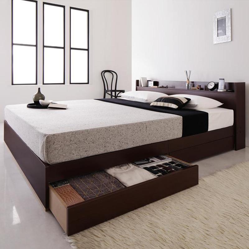 【送料無料】 コンセント付き収納ベッド スタンダードボンネルコイル マットレス付き クイーン(Q×1)