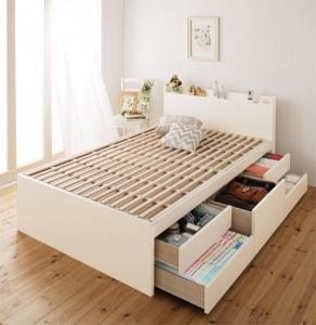 【送料無料】日本製_棚・コンセント付き大容量すのこチェストベッド ベッドフレームのみ シングル