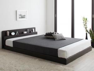 【送料無料】親子で寝られる棚・コンセント付き安全連結ベッド ポケットコイルマットレス付き ダブル