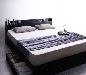 棚・コンセント付収納ベッド プレミアムボンネルコイルマットレス付き クイーン(Q×1)