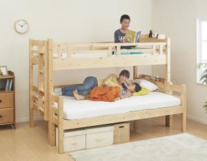 【送料無料】ダブルサイズになる・添い寝ができる二段ベッド ベッドフレームのみ シングル・ダブル