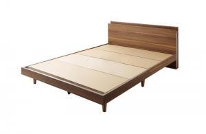 【P5倍★本日12時~大サービス!】 スリムモダンライト付きデザインベッド ベッドフレームのみ 床板仕様 ダブル