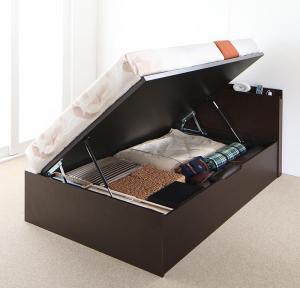 ※ラッピング ※ ベッド お客様組立 棚コンセント付 跳ね上げベッド セミダブル 深さラージ 横開き 薄型プレミアムポケットコイルマットレス付き 在庫一掃