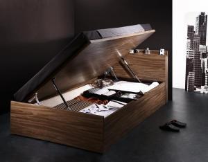 驚きの値段で ベッド 組立設置付 シンプルデザイン大容量収納跳ね上げ式ベッド 薄型プレミアムボンネルコイルマットレス付き 横開き 海外 深さラージ セミダブル