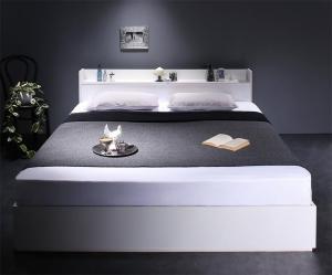 【送料無料】棚・コンセント付収納ベッド スタンダードポケットコイルマットレス付き クイーン
